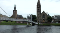 Scotland city of Inverness 009 bridge between two churches at Ness riverside Stock Footage