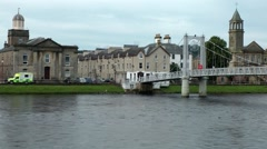 Scotland city of Inverness 006 typical British architecture at riverfront - stock footage