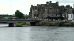 Scotland city of Inverness 004 Ness riverfront with bridge and old houses Stock Footage