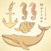 Sketch sea creatures in vintage style Stock Illustration