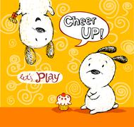 Cheer up card, to friend with cute puppies Stock Illustration
