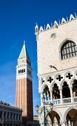Campanile bell tower and architecture detail of Doges Palace Stock Photos