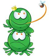 two frog cartoon - stock illustration
