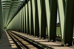 Railway metal bridge perspective view Stock Photos