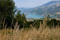 lake of serre ponçon,hautes alpes,france lake of serre pon - stock photo