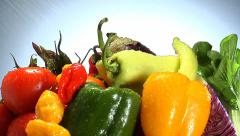 Stock Video Footage of Assortment of fresh vegetables rotate in frame
