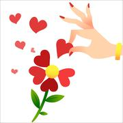Guessing on the petals. A womans hand lifts the heart petals - stock illustration