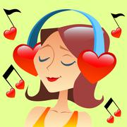 Girl listening to music with headphones in the form of a red hea Stock Illustration