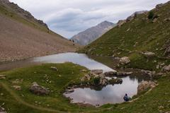 lake of crachet,crevoux,hautes alpes,france - stock photo