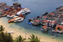Village on the sea the gypsy. Hainan. China Kuvituskuvat