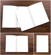 Collection ofBlank catalog,brochure,  mock up on wood background Stock Photos
