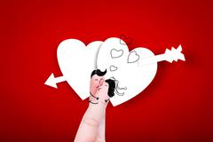 Happy fingers decorated as bride and groom kissing - stock illustration