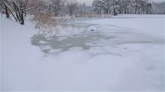 Frozen pond in the city park Stock Footage