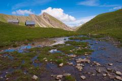 vallon of eyguettes,crevoux,hautes alpes,france - stock photo