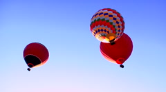 Three hot air balloons in sky. Stock Footage