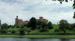 Scotland city of Inverness 022 the castle seen from opposite river side Stock Footage