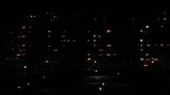 Night urban city lights windows - stock footage