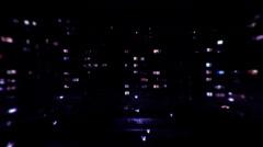 Dark Night urban city lights windows - stock footage