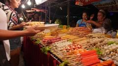 Satay Barbecue Kebab at Walking Street in Thailand Stock Footage