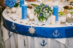 Table waiting for guestsWedding party decor Stock Photos