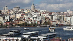 GOLDEN HORN & GALATA TOWER, BEYOGLU, ISTANBUL, TURKEY Stock Footage