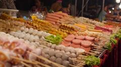Traditional Thai Roasted Satay Food on the Street Stock Footage