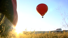 Hot-air balloons in morning sun. Stock Footage