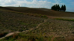 Italy, Wide Fixed Shot Of The Tuscan Countryside At The End Of The Summer. Stock Footage