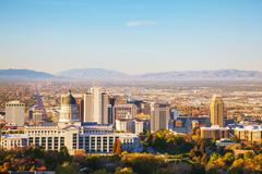 Salt Lake City panoramic overview - stock photo