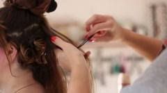 Creating Curls - Hair artist Stock Footage