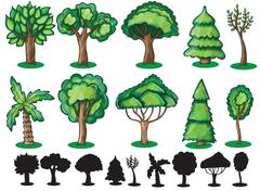 Trees and Silhoutte of trees - stock illustration