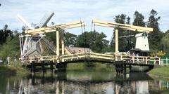 A bascule bridge in the Netherlands Open Air Museum, Arnhem, Netherlands. Stock Footage