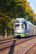 Tram on the street of Hanover - stock photo