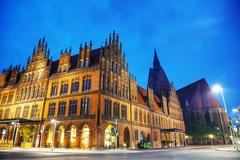 Old town hall building at Hanns Lilje Platz in Hanover - stock photo