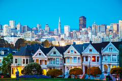 San Francisco cityscape as seen from Alamo square park - stock photo