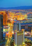 Overview of downtown Las Vegas in the night Stock Photos