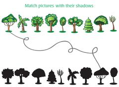 Trees and Silhoutte of trees - game for children - stock illustration