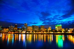 Stock Photo of Downtown Portland cityscape at the night time