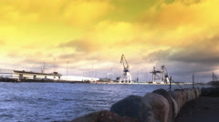Waste Power energy Industrial pollution at the Sea and Factory - stock footage