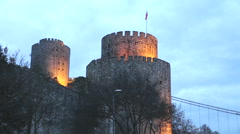 Rumeli Hisari (Rumeli Castle) POV and FSM Bridge background,Istanbul Turkey 2015 Stock Footage