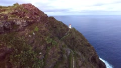 Aerial over Makapuu Lighthouse at south shore of Oahu Stock Footage