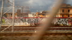 Camera train through the suburbs of the city of Rome. - stock footage