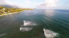 Aerial of Diamond Head Beach and waves Stock Footage