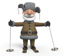 The grandfather on skis - stock illustration