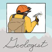 Double Exposure Geologist Working Stock Illustration
