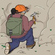 Hispanic Geologist Chiseling Samples Stock Illustration