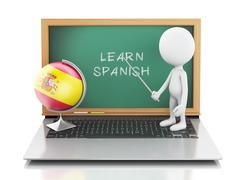 3d white people with laptop. Learn spanish concept. Stock Illustration