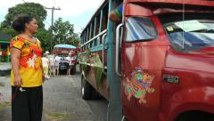 American Samoa colorful bus moves editorial 4k Stock Footage