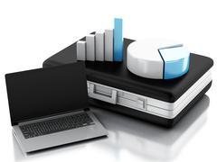 3d Briefcase, statistic graph and laptop pc. Business office concept - stock illustration