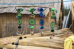 Souvenir from reed on Floating islands Titicaca lake, Peru, South America Stock Photos